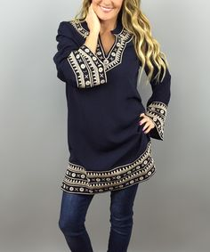 This Navy & Ivory Embroidered Puff-Sleeve Tunic by Coco and Main is perfect! #zulilyfinds