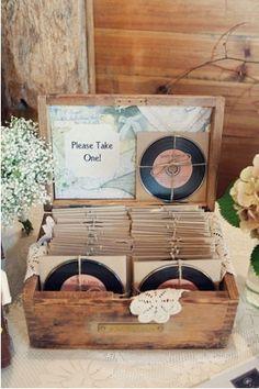 vintage wedding favors - CD printed to look like vinyl record!