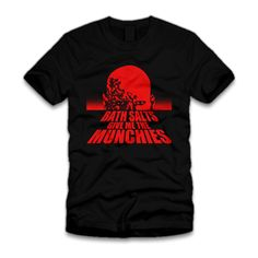 The Zombie Apocalypse is truly upon us.  If bath salts give YOU the munchies too, this t-shirt will make a perfect napkin for your flesh eating tendencies.  The design is based on the movie poster for George A. Romero's Dawn of the Dead.