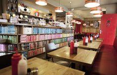 café in Copenhagen, Denmark, called The Laundromat Laundromat Business, Cool Bookshelves, Danish Design, New Kitchen, Innovation, Architecture, Awesome, Laundry, Copenhagen Denmark
