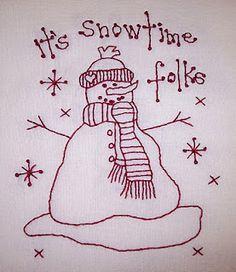 Redwork snowman