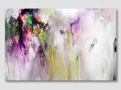 Original abstract UNSTRETCHED painting, abstract art, canvas painting, acrylic colorful painting, pink fuchsia yellow green painting