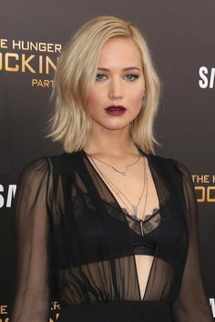 Taking gothic makeup statements into Old Hollywood territory, Jennifer Lawrence regularly pulls off a soft-edged plum lip stain with the smoldering sex-appeal of a silent screen star.