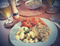 Traditional Polish meal: crispy fried pork loin cutlet with new boiled potatoes and sauteed cabbage with dill