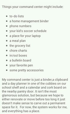 """""""Command Center"""" to keep home organized in every way possible"""