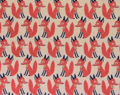 Japanese Fabric - Little Fox - red on natural