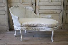19th Century Louis XV Style Painted and Cane Recamier from Full Bloom Cottage