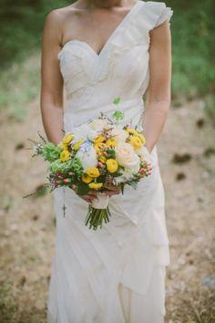 beautiful one-shoulder gown | via Mountainside Bride