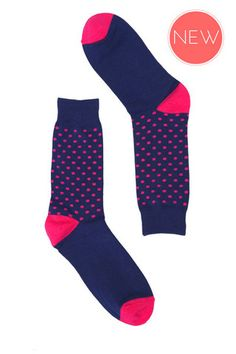 Rock My Socks | Navy and Pink Spot Socks | Mens Socks Online – Rock My Socks UK