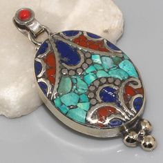 Turquoise, Red Coral, Lapis & 925 Silver Nepal Tribal Pendant 51mm Jewellery