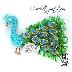Crochet pattern peacock brooch DIY by VendulkaM on Etsy, $5.00