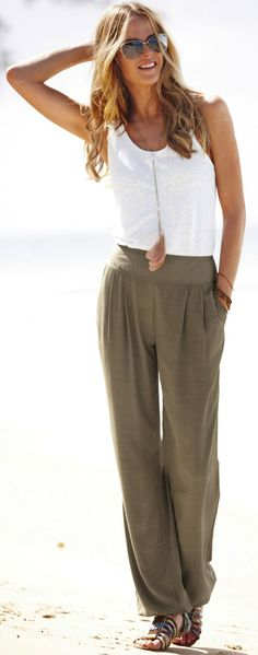 lace overlay tank, olive linen pant, long feather necklace and leopard print sandal... perfectly simple and chic