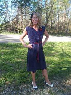 Check out this item in my Etsy shop https://www.etsy.com/listing/279595202/vintage-navy-blue-red-pinstriped-dress