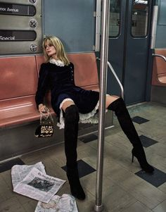 Julia Stegner wears A Philosophy di Lorenzo Serafini dress and Gianvito Rossi thigh-high boots make the perfect pairing for The Edit Magazine October 2016 Fashion Shoot, Editorial Fashion, Fashion Tips, Gothic Fashion, High Fashion, Womens Fashion, Ideas Fotos Instagram, Film Scene, Julia Stegner