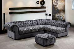 Divani Casa Metropolitan - Modern Fabric Sofa Sectional with Tufted Acrylic Crystals VG2T0669-1