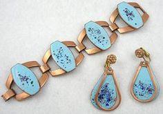 Rebajes Enameled Copper Bracelet Set - Garden Party Collection Vintage Jewelry