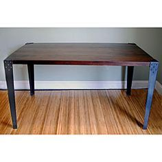 Wood dinning room table metal legs - Google Search