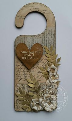 Decoupage Door Hanger By Lisa Horton using our brand new Postcard Script decoupage paper Wooden Shapes, Old Furniture, Decoupage Paper, Bottle Opener, Upcycle, Hanger, Objects, Xmas, Wall Art