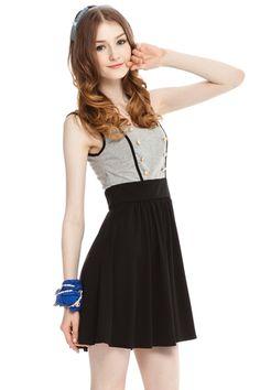 Double Breasted Sleeveless Bound Waist Mini Dress