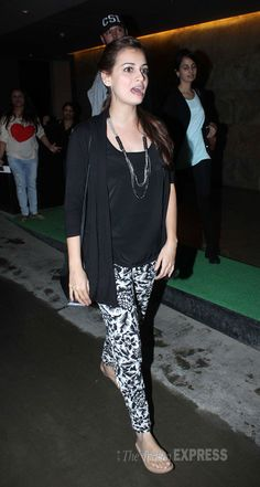 Dia Mirza dressed in printed tights and black top. #Style #Bollywood #Fashion #Beauty