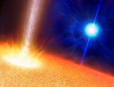 An artist's impression of the stars creating gamma-ray bursts. The background blue star is the progenitor of a standard long duration gamma-ray burst. A so-called Wolf-Rayet star, it has a mass ten or more times the mass of the sun but has a comparable size. The foreground star is the suggested progenitor of an ultra-long gamma-ray burst (GRB). It has a mass of perhaps 20 times the sun but is up to a thousand times larger.