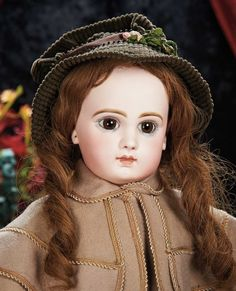 The Lifelong Collection of Berta Leon Hackney: 229 Beautiful French Bisque Brown-Eyed Bebe by Emile Jumeau, Size 11