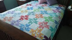 Queen Quilt// Modern Quilt//Surprise Pinwheel Quit by SewDevotedSisters on Etsy