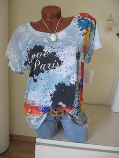 Vintage Shirt Tunika Eiffelturm Falten Pailletten LOVE in...