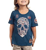 Affliction Official Store, AFFL-1690 AC Wordskull Short Sleeve Tee - Toddler, afflictionclothing.com