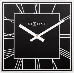 Klok Square Roman - Zwart - NeXtime. Van glas. Klein 20cm. Kan worden neergezet met standaard achter. Ook aan muur.