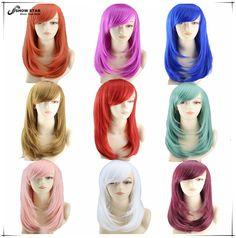 ホット販売ヘアスタイル用セミロングストレートヘアアニメコスプレかつらpeluca高品質日本女性人工毛ウィッグ9色