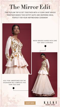 Off White Peplum Top With Flower And Leaf Cut Mirror Work And Matching Lehenga Online - Kalki Fashion Skirt Fashion, Fashion Outfits, White Peplum Tops, Lehenga Online, Groom Wear, Flowy Skirt, Party Wear, Off White, Bridal