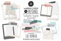 Washi Tape + Frames and Notes by pattern pop on Creative Market