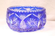 Cobalt Blue Punch Bowl Cut Glass Vintage by FoundAround on Etsy, $125.00