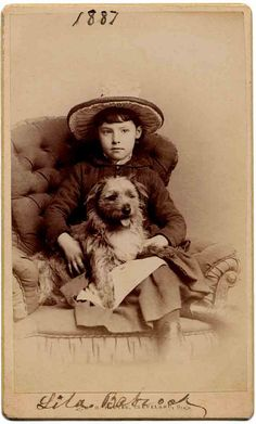 Lila Babcock and her cute dog. Vintage photo from 1887.