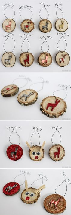 Deer Wood Slice Ornaments - Rustic Christmas Wood slice ornaments add the perfect touch to your Rustic Christmas theme, especially if you decorate them with deer and Rudolph The Red Nosed Reindeer! Cheap Christmas Gifts, Diy Christmas Ornaments, Homemade Christmas, Rustic Christmas, Christmas Themes, Christmas Tree Decorations, Christmas Holidays, Ornaments Ideas, Wooden Ornaments