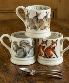 Mugs with various animals on them