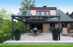 toit en verre en métal pour la protection de la terrasse moderne