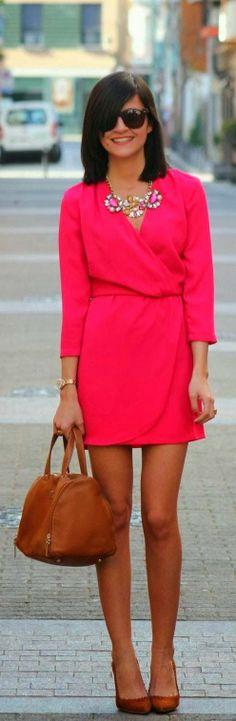 Stylish Necklace And Pink Wrap Mini Dress Fashion