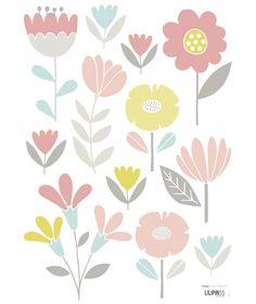 Sticker chambre enfant fleurs fille