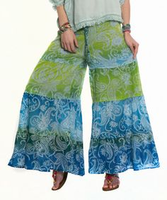 Look at this #zulilyfind! Blue & Green Paisley Palazzo Pants by Z&L #zulilyfinds