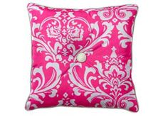 """Custom Designer Throw Pillow with Button   Using fabric """"OZBOUCPWH"""""""