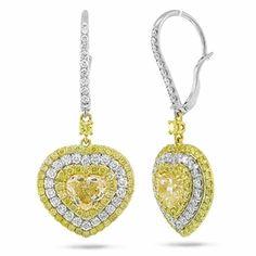 Gemma 5.32ct 18k Two-tone Gold Heart Shape Natural Fancy Yellow Diamond Earrings - Metal Weight: 8.3 gram - Item #: AZSC35002392CRSH Regular price:$49,728.99Sale price:$29,389.99 You Save: 41%