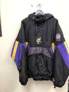 0ef8377fabbe34 Vintage Starter Minnesota Vikings NFL Football Pull Over Jacket Coat Men s  XXL