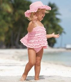 Adorable pink frilly tankini