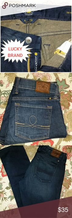 "LUCKY BRAND Jeans Sweet Jean Straight Sz 6 / 28 ""Lucky You"" inside zipper, Inseam 32"", Made in Mexico, Too Tough To Die, 98% Cotton 2% Spandex Lucky Brand Jeans Straight Leg"