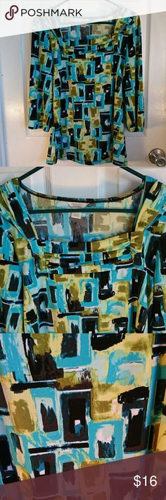 Christopher & Banks Abstract Women's Blouse This is a very cute gently worn multicolored Blouse (green, turquoise, black, and white).  It has a square neckline, 3/4 sleeves, elastic closing on sleeves. It us in excellent condition with no rips,  loose material, or stains. Christopher & Banks Tops Blouses