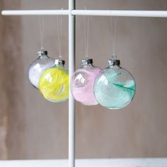 Feather Baubles, Set Of Four - tree decorations