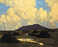 Paul Henry April 1877 – 24 August was an Irish artist noted for depicting the west of Ireland landscape with a spare post-impressionist style. Irish Landscape, Ireland Landscape, Landscape Art, Famous Landscape Paintings, Cool Landscapes, Impressionist Paintings, Impressionism, Oil Paintings, Irish Painters