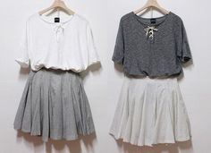 either of these outfits, even though they're darkish colours would be nice and cool for summer